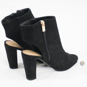 BAMBOO WOMEN'S BLACK SUEDE OPEN-TOE HEEL  QYA